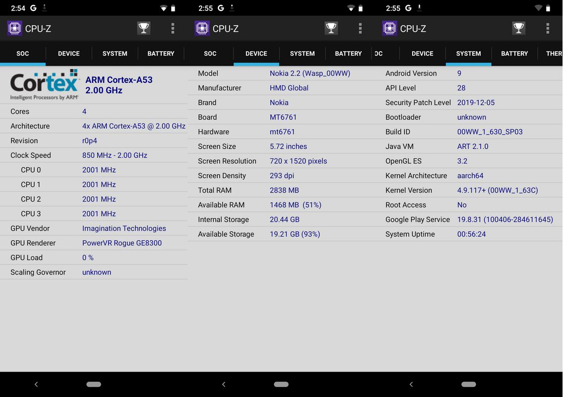 CPU-Z Nokia 2.2