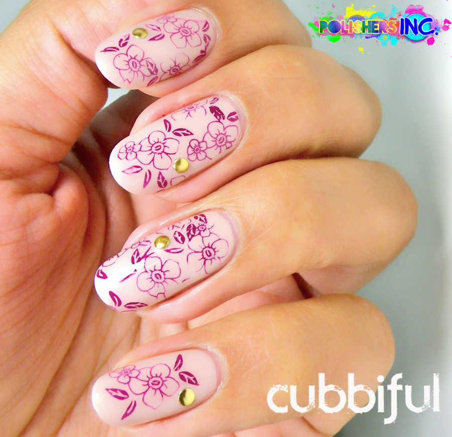 floral nails with stamping and studs