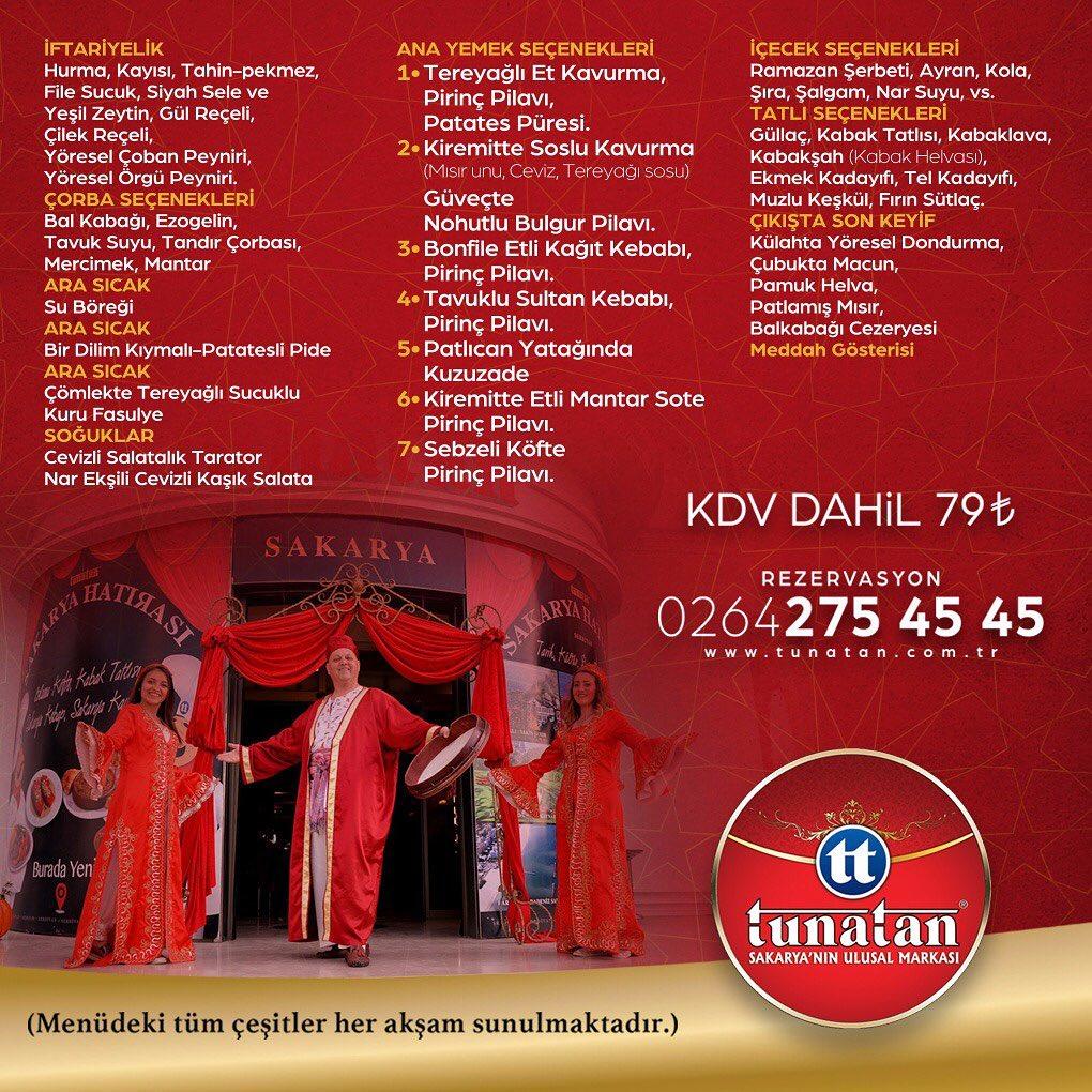 tunatan iftar 2019 tunatan iftar menusu 2019 sakarya iftar mekanları sakarya iftar menüleri fiyatları