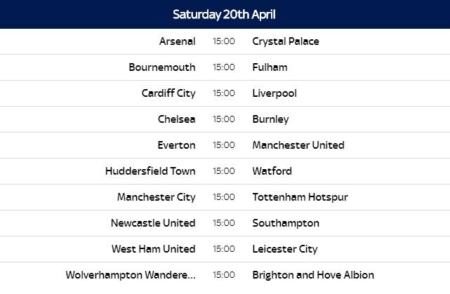 Premier League 2018-19 Fixtures (Released)