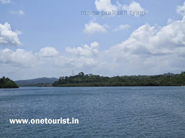 beautiful sea at middle strait, baratang jetty, see journey , andaman