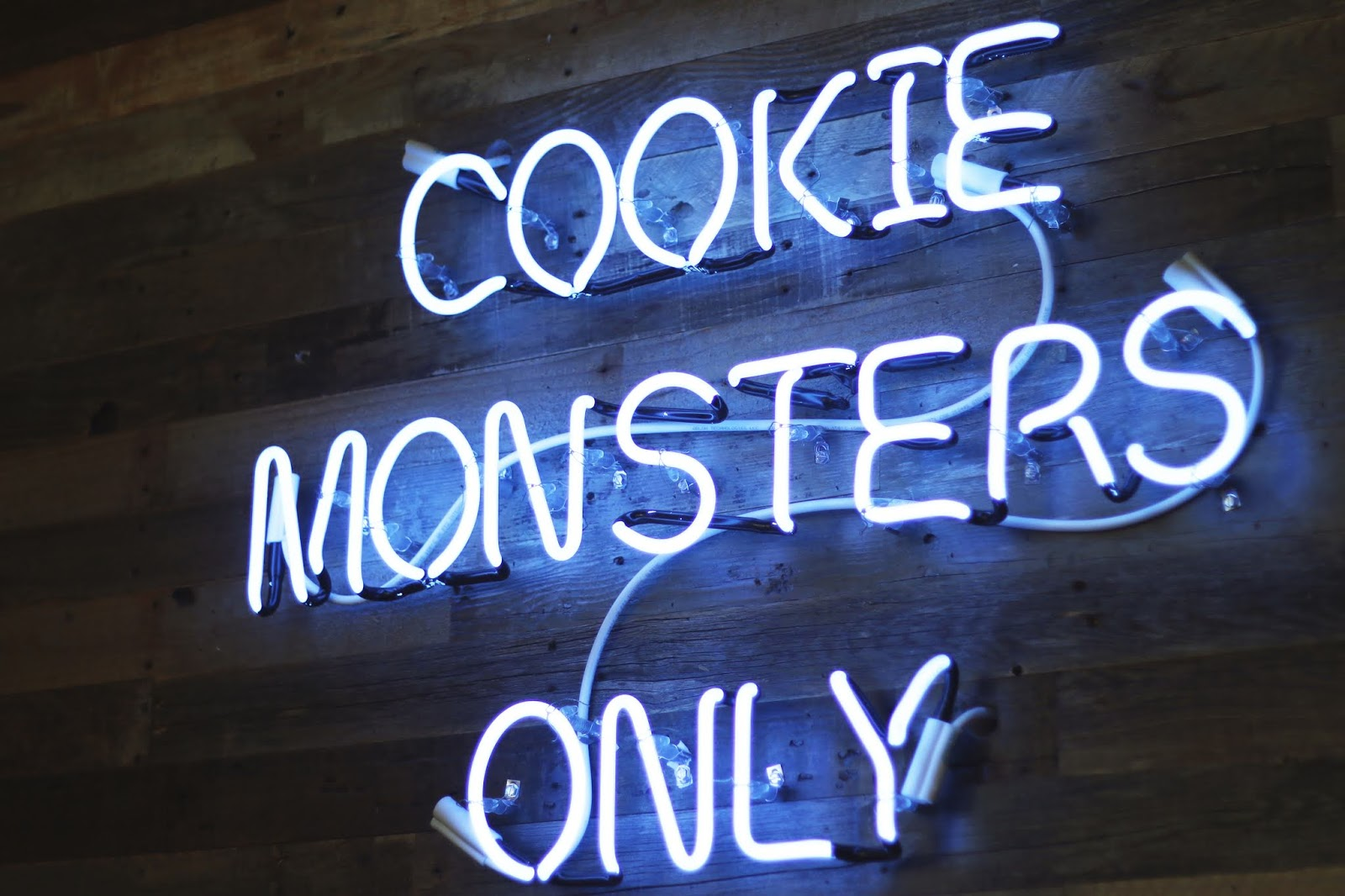 cookie monsters only neon sign, dessert, treats in austin, baked bear austin