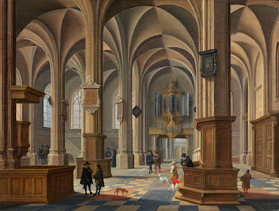Church interior painting - vaulted ceilings and 17th century figures