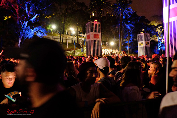 Night, the dance crowd, view to fleet stairs. Harbour Life Music Festival Sydney 2016. Photographed by Kent Johnson for Street Fashion Sydney.