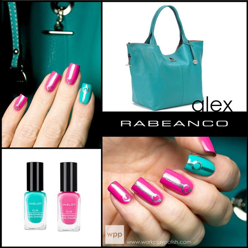 RABEANCO Alex inspired mani using Inglot O2M Breathable Nail Lacquer in 685 and 687