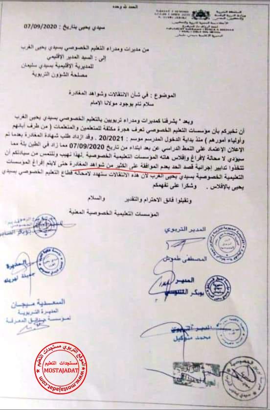 التعليم الخصوصي تراسل المدراء الإقليميين للتعليم لتحريضهم على رفض طلبات انتقال أبناء المغاربة من المدارس الخاصة إلى المدرسة العمومية
