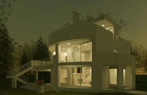 Fachada de casa semi cilindrica fachadas de casas y for Casas modernas por dentro