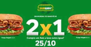 Promoção Subway 2018 Compre Ganhe Igual