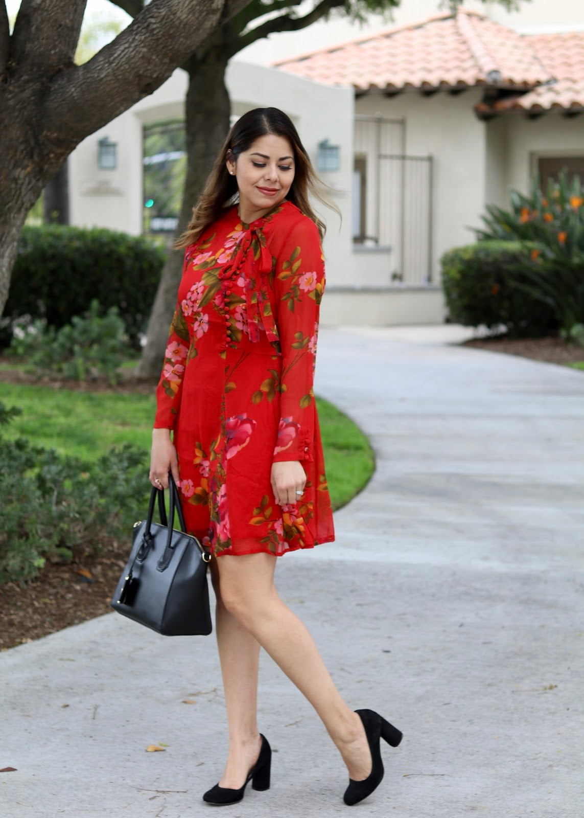 fall winter florals, gucci inspired dress, what to wear to brunch
