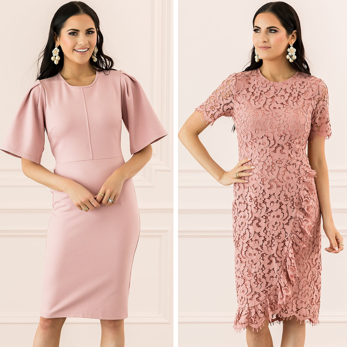 pink lace ruffle dress, pink ponte knit dress, rachel parcell nordstrom dresses