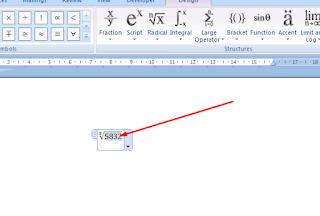 cara menulis akar pangkat di ms word