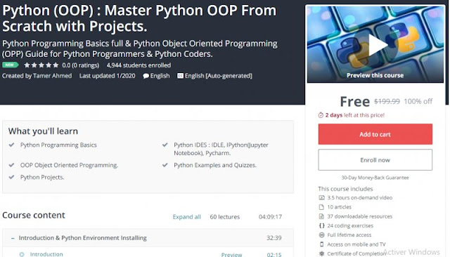 [100% Off] Python (OOP) : Master Python OOP From Scratch with Projects.| Worth 199,99$