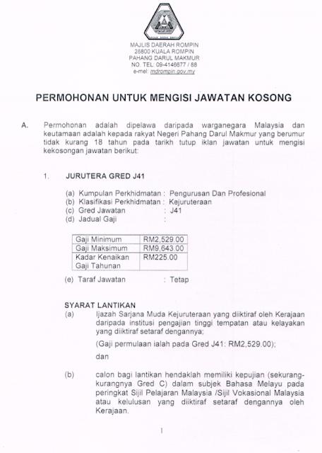Jawatan Kosong di Majlis Daerah Rompin