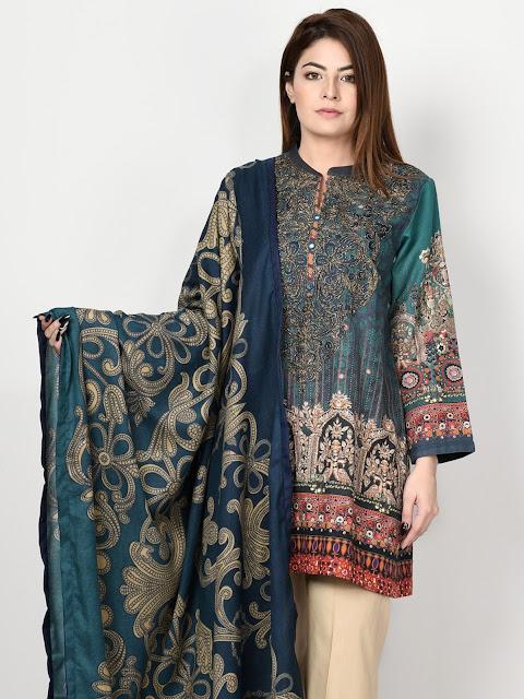 limelight blue color printed khaddar suit winter pret collection