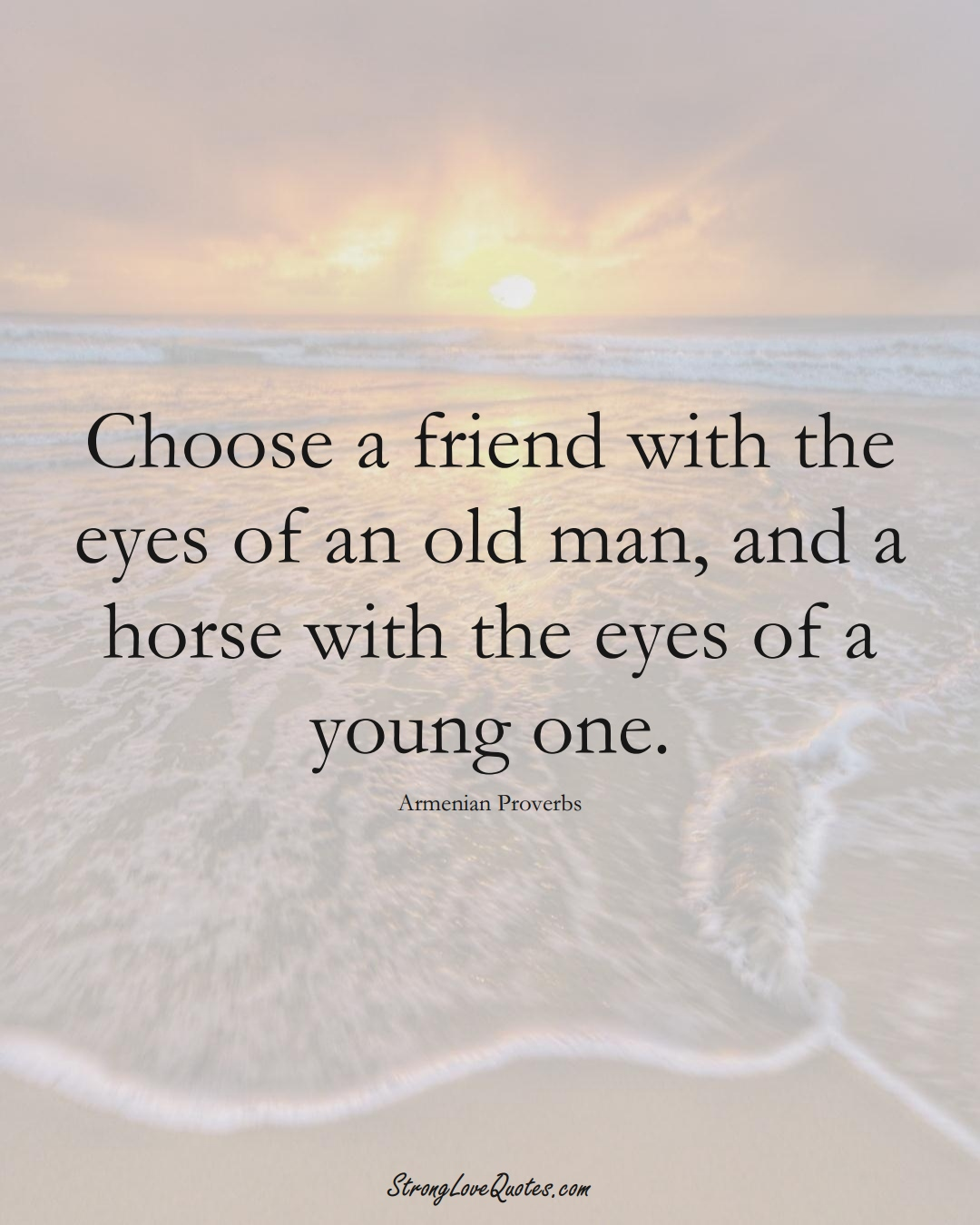 Choose a friend with the eyes of an old man, and a horse with the eyes of a young one. (Armenian Sayings);  #AsianSayings