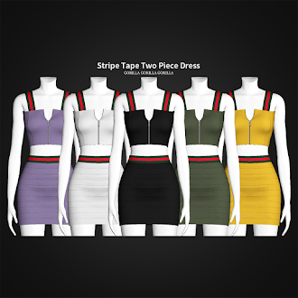Stripe Tape Two Piece Dress