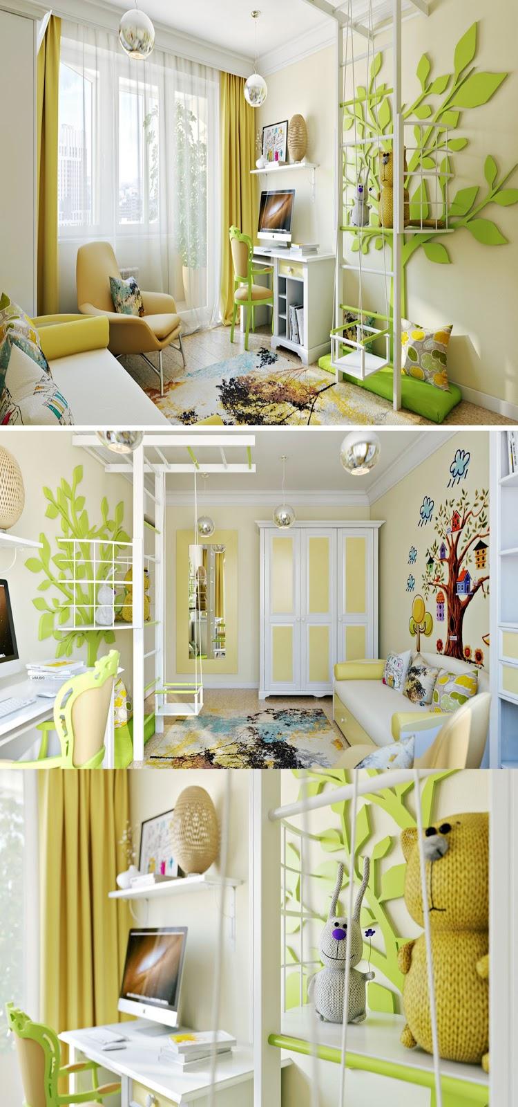 decoração quarto infantil, cor amarelo
