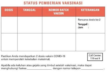 Kartu status pemberian Vaksinasi