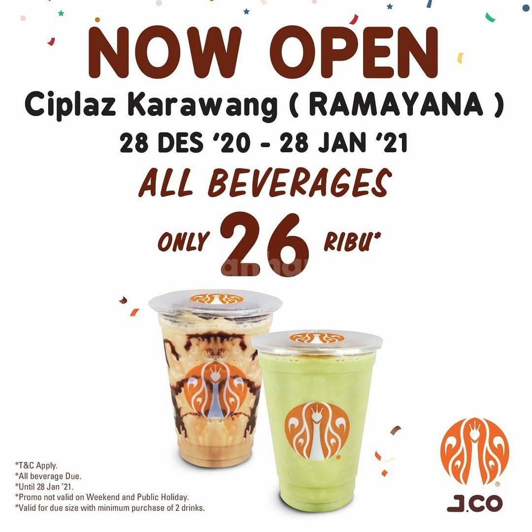 JCO CIPLAZ KARAWANG Grand Opening Promo – Semua Minuman Rp 26.000 atau 3 box Jpops hanya Rp 105.000