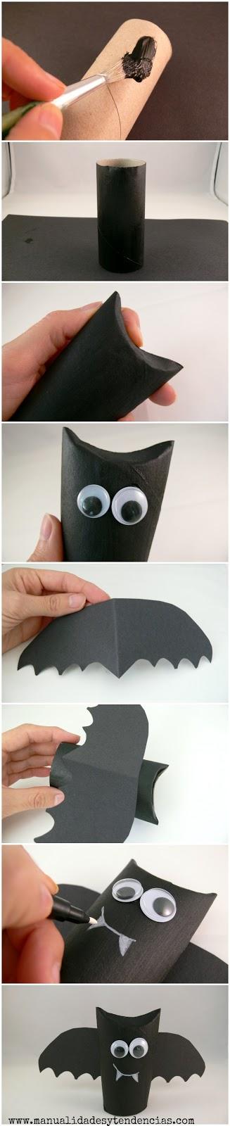 Cómo hacer un murciélago con rollos de papel higiénico