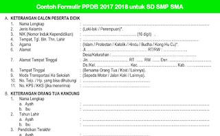 Contoh Formulir PPDB 2017 2018 untuk SD SMP SMA