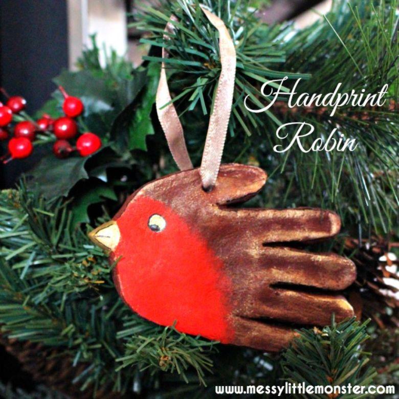 Robin salt dough handprint ornaments