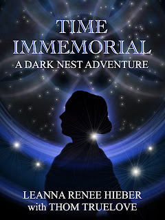Time Immemorial: A Dark Nest Adventure Cover Art Featuring a Silhouette of Captain Liz Marlowe with a background of stars, novella by Leanna Renee Hieber with Thom Truelove via Scrib'd