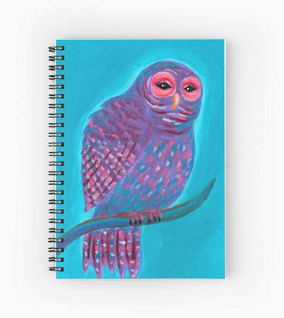 Purple fantasy owl notebook cover design