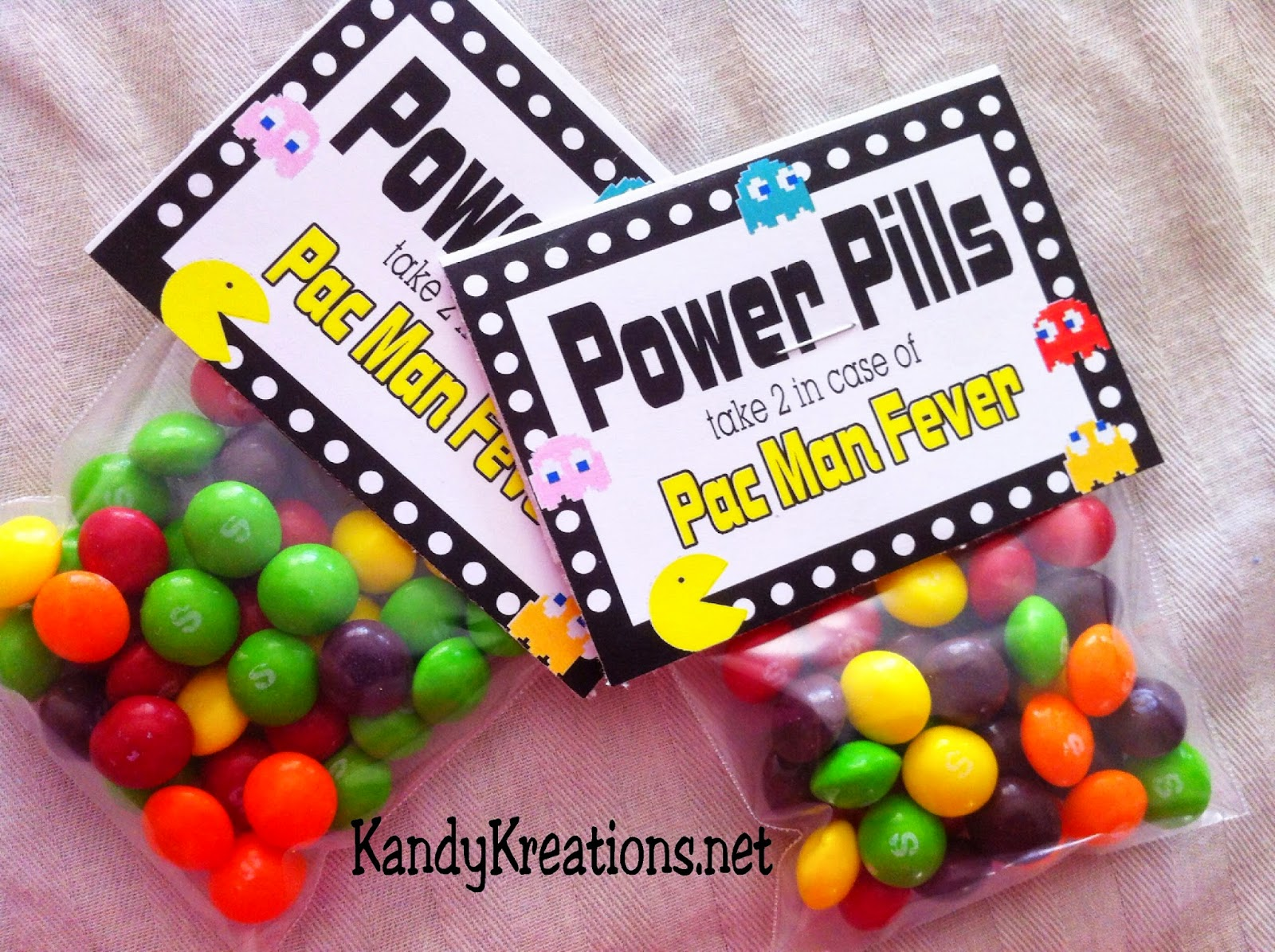 Pacman Power Pills Candy Bag Topper Free Printables