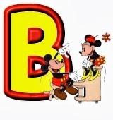 Lindo alfabeto de Mickey y Minnie tocando el piano B.