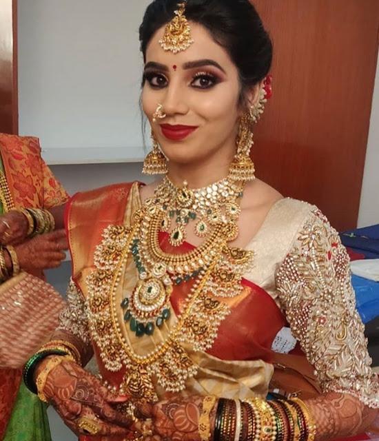 Bride in Lakshmi Guttapusalu Haram Choker