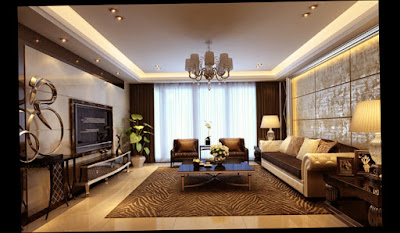 Modern Style Wall Ideas For Living Room Large Room With Big One Lamp on The Plafond Picture