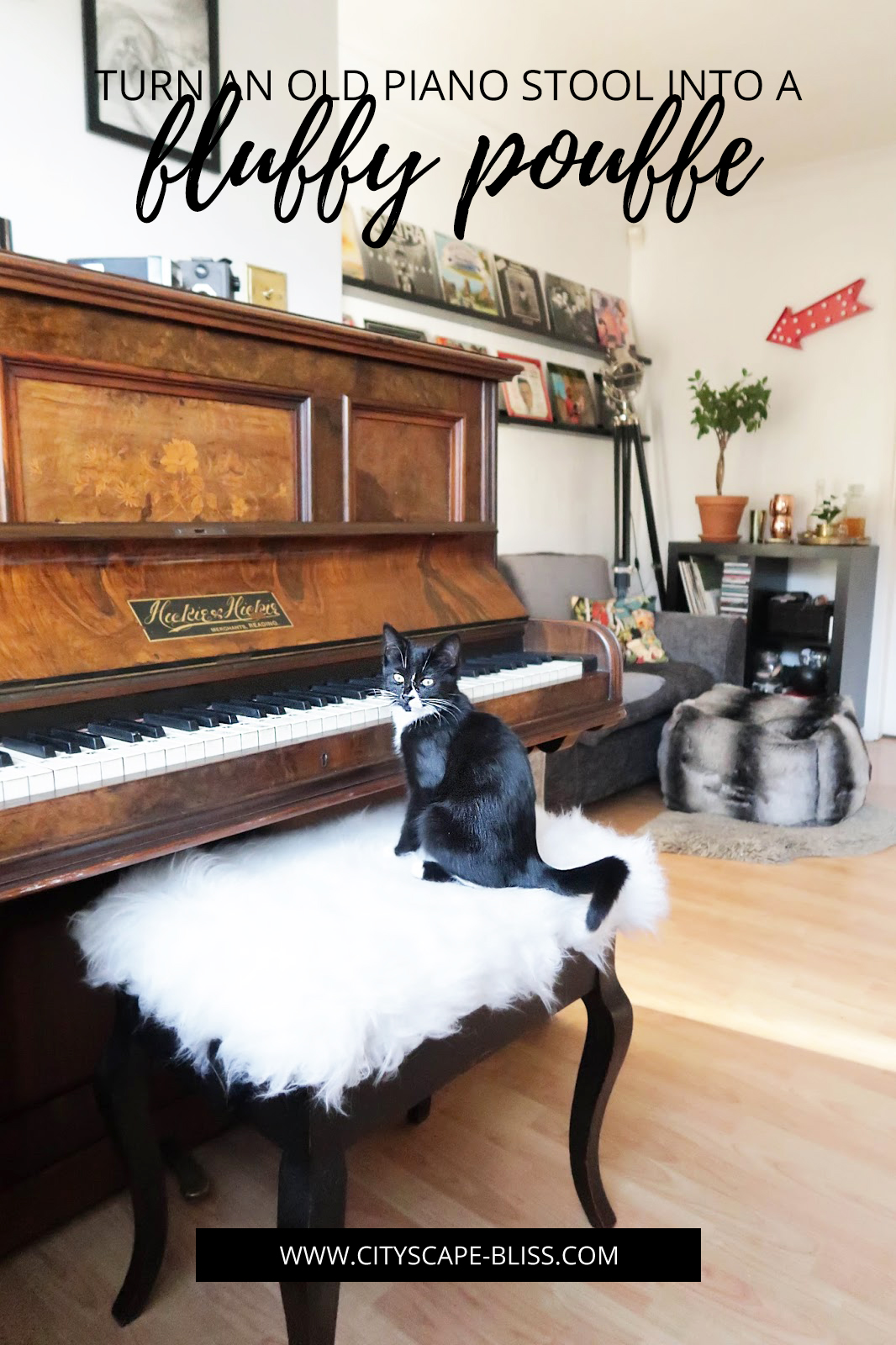 Turn an old piano stool into a fluffy pouf