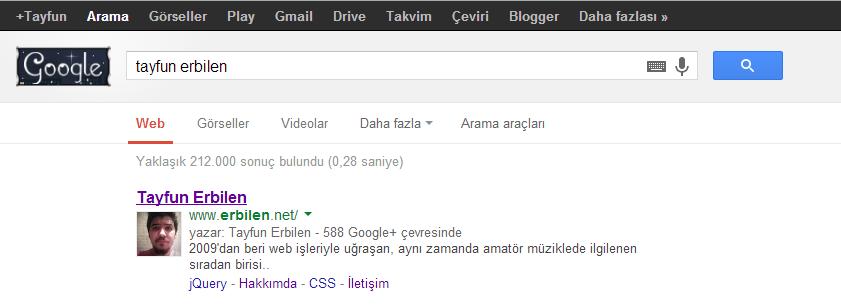 Google Arama Sonuçlarında Google+ Görseli
