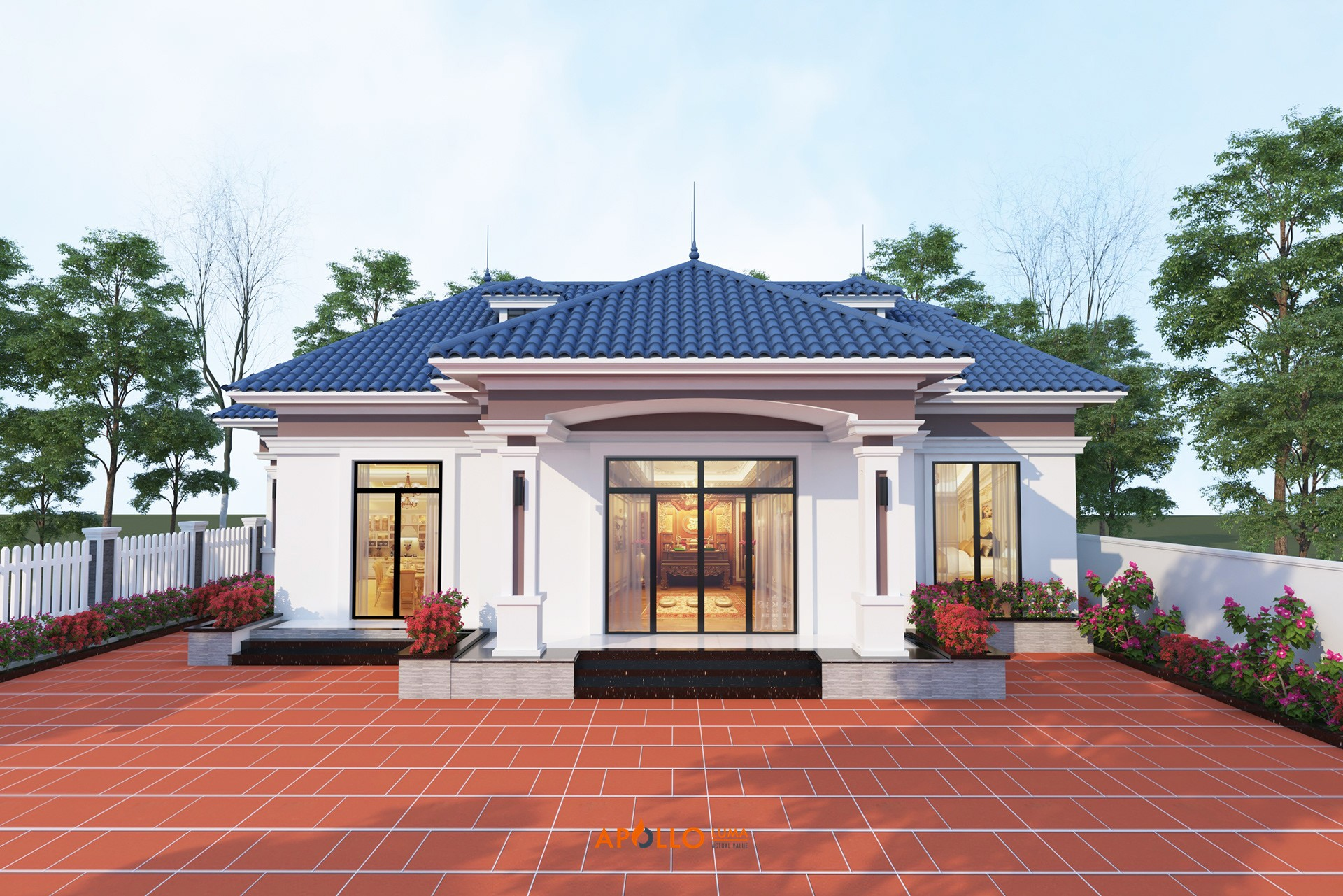 Thiết kế nhà vườn 1 tầng tại Sóc Sơn (Hà Nội) - NV03
