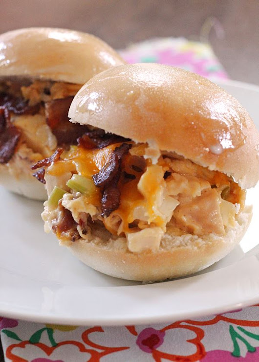 Hot Cheesy Chicken Bacon Sandwiches (Slow Cooker)