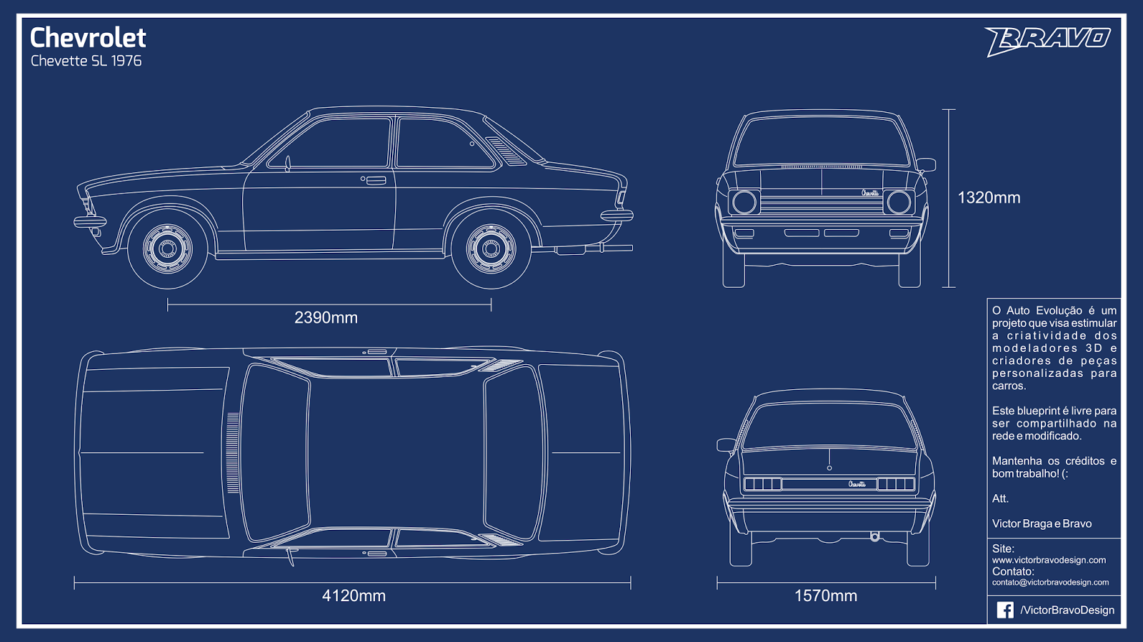 Imagem do blueprint do Chevrolet Chevette SL 1976