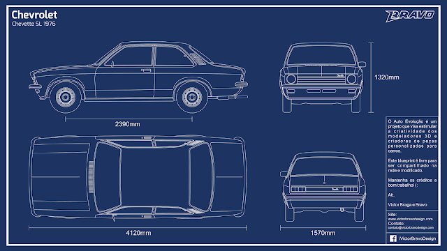 Imagem do blueprint do Chevrolet Chevette SL 1976