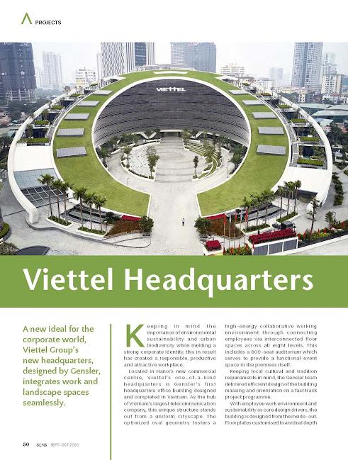 Bài giới thiệu về trụ sở chính Viettel đăng trên tạp chí SAEB