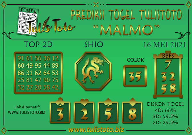 Prediksi Togel MALMO TULISTOTO 16 MEI 2021