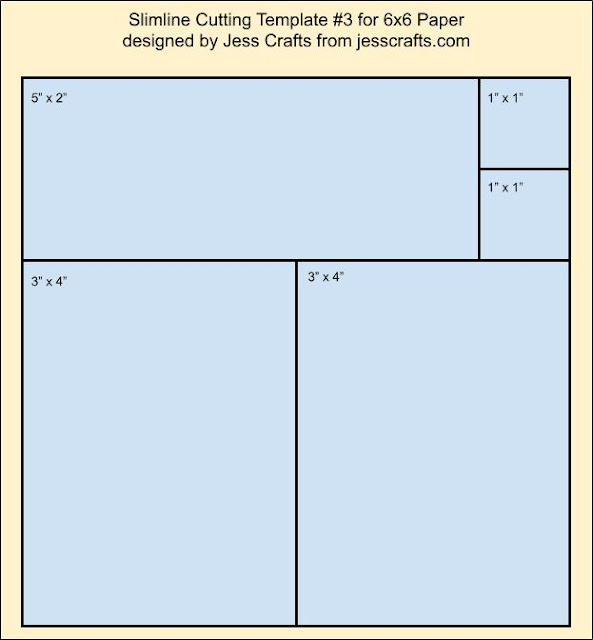 Using 6x6 on a Slimline Card Template #3 by Jess Crafts