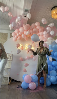Gender reveal party decoration, Boy or Girl confetti balloon
