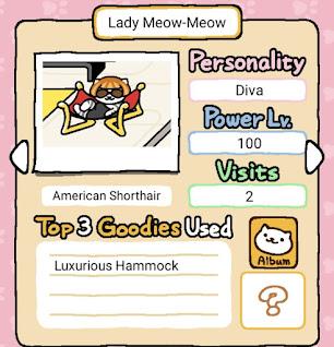 Android screenshot of another rare Neko Atsume cat