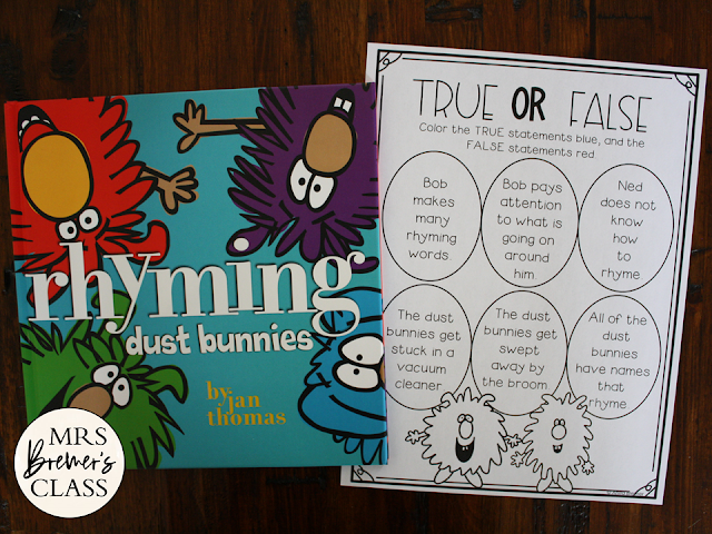 Rhyming Dust Bunnies book study unit with Common Core aligned literacy companion activities and a craftivity for Kindergarten and First Grade