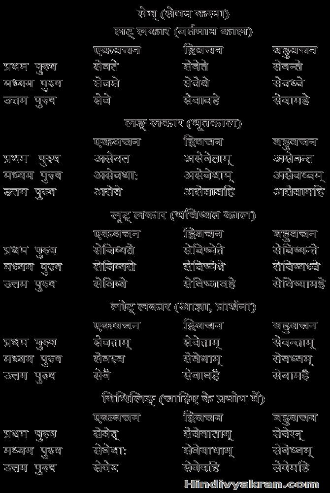 सेव् धातु के रूप संस्कृत में – Sev Dhatu Roop In Sanskrit