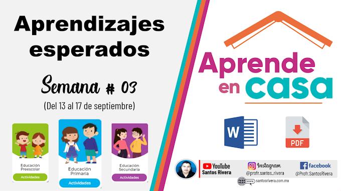 Aprendizajes Esperados Semana # 3 (del 13 al 17 de septiembre de 2021) de Aprende en Casa