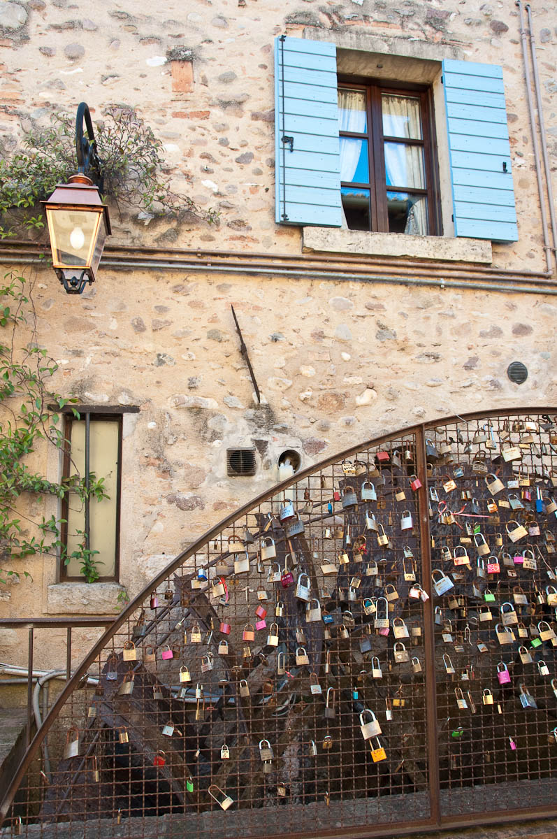 Love locks and a water wheel, Borghetto, Veneto, Italy