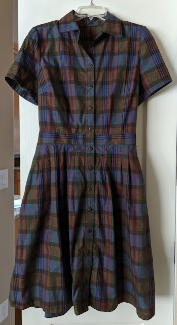 Large brown and blue plaid cotton dress.