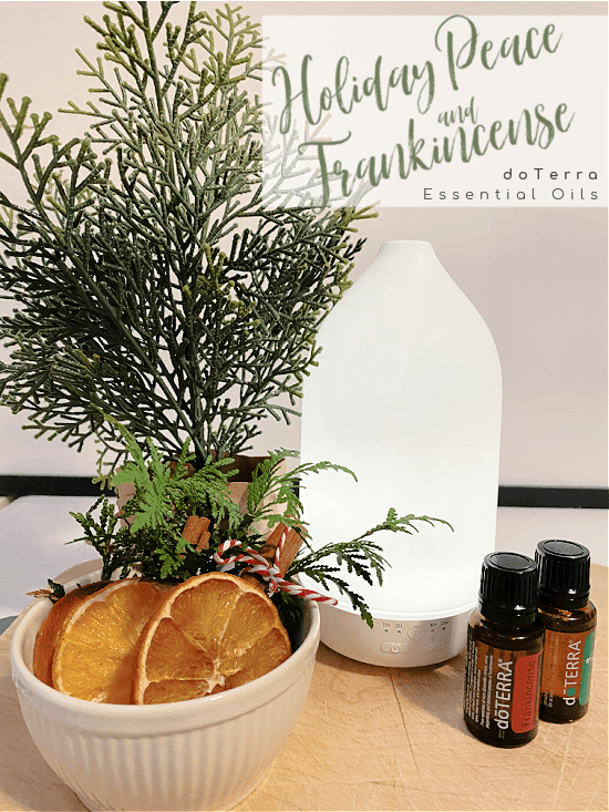 bowl of orange slices, a diffuser and doTerra essential oils