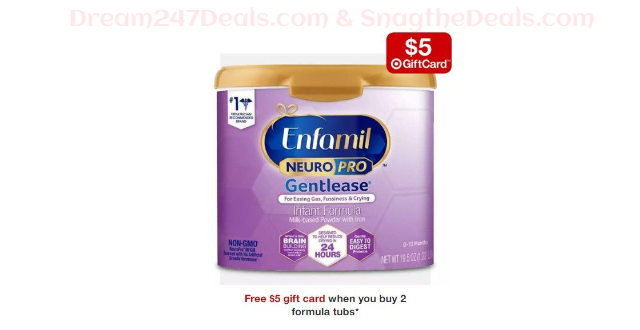 Free $5 gift card when you buy 2 formula tubs